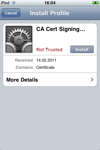 mecking.net » Blog Archive » Installing CACert Root Certifcates on iOS